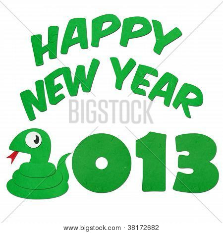 Rice Paper Cut Cute Cartoon Green Snake With Happy 2013 Text
