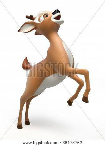 beautiful deer stands on his hind legs