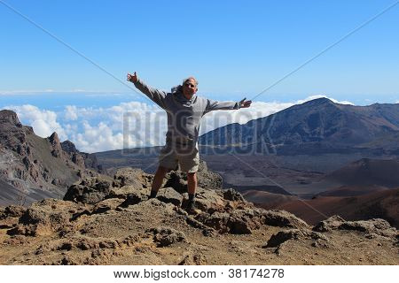 Senior Man at Haleakala Volcano