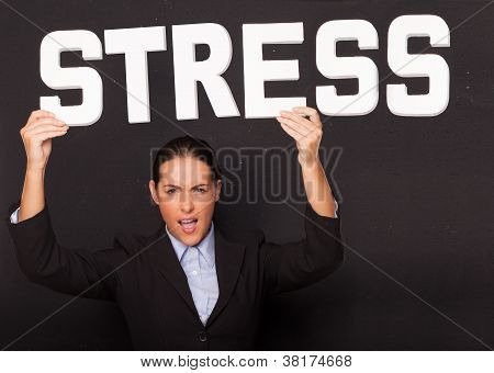 Businesswoman With The Word Stress