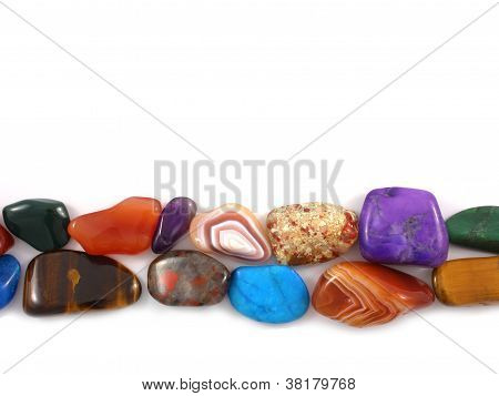 A row of semi-precious stones