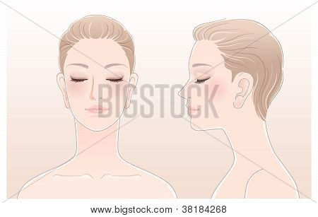 Set Of Beautiful Woman Portrait With Eyes Closed