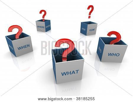 3D Questions Words Boxes