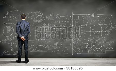 Business person against the blackboard