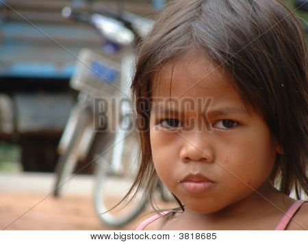 Girl In A Village Around The Angkor Wat Complex In Siem Reap, Cambodia