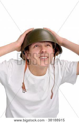 Teenager In Helmet