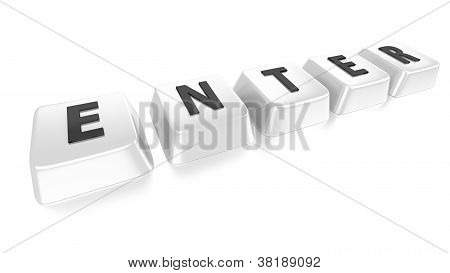 Enter Written In Black On White Computer Keys. 3D Illustration. Isolated Background.