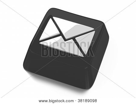 E-mail Envelope Icon In White On Black Computer Key. 3D Illustration. Isolated Background.