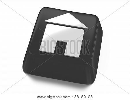Home Icon In White On Black Computer Key. House Icon. 3D Illustration. Isolated Background.