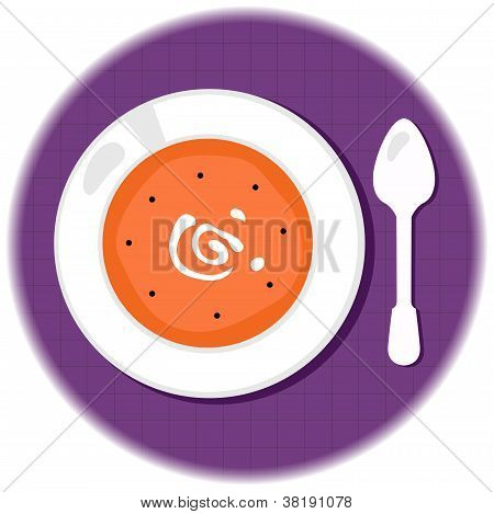 Halloween Pumpkin Orange Soup In Circle