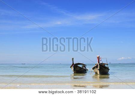 Two Long Tail Boats At Ao Nang Krabi