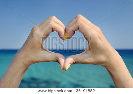Love Sea Hand Heart Gesture