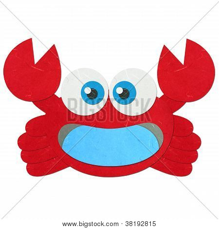 Rice Paper Cut Cute Red Crab