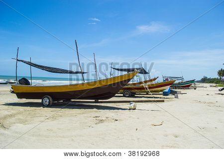 Fishing boats beached