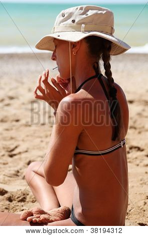 Girl Playing Meditation Music By Jew's-harp