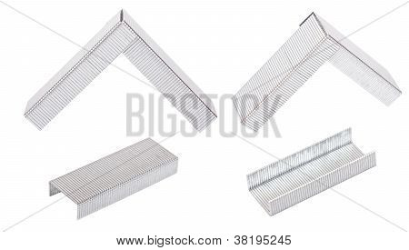 Set Of Staples On A White Background
