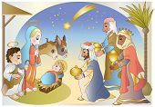 image of magi  - a crib with jesus - JPG