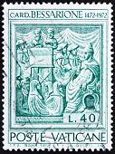 foto of constantinople  - a stamp printed in the Vatican shows Johannes Cardinal Bessarion - JPG