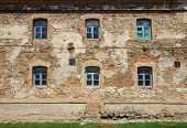 foto of carmelite  - Old orange brick wall with six windows in Monastery  - JPG