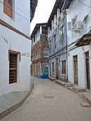 image of slave-house  - Narrow street in Stone Town on Zanzibar Island  - JPG
