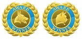 stock photo of alsatian  - Gold cat and dog pet competition winners medals illustrations - JPG