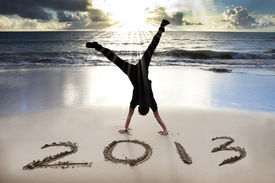 picture of happy new year 2013  - happy new year 2013 on the beach - JPG