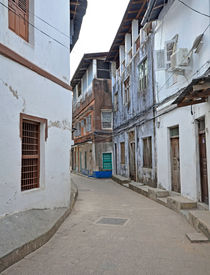 stock photo of slave-house  - Narrow street in Stone Town on Zanzibar Island  - JPG