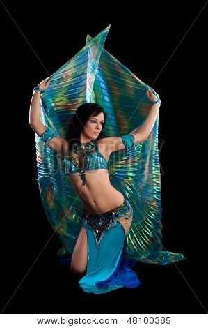 Bellydancer In Blue Costume With Wings