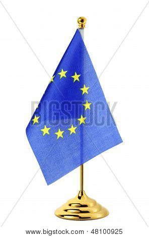 Flag Of Eu Hanging On The Gold Flagpole