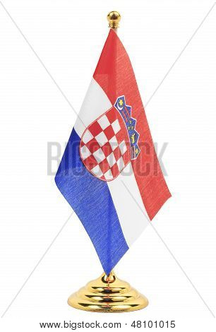 Croatia National Flag Hanging On The Gold Flagstaff