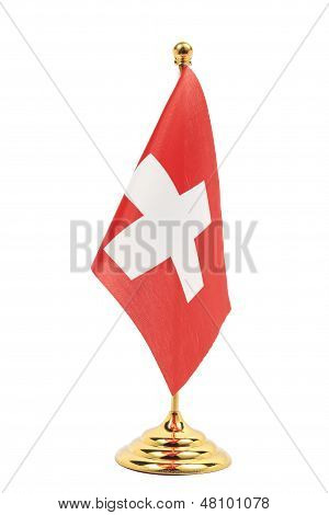 Switzerland Flag Hanging On The Gold Flagstaff,