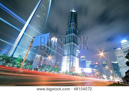 Highway At Night With Light Trails In Shanghai China