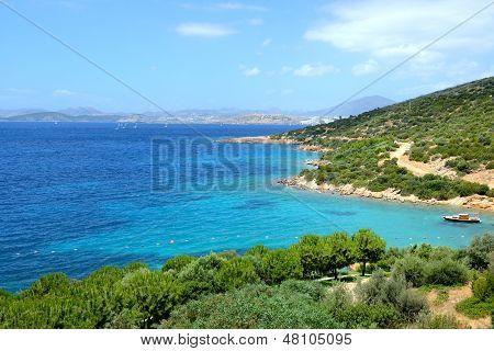 Turquoise Water Near Beach On Mediterranean Turkish Resort, Bodrum, Turkey