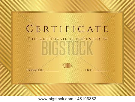 Gold Certificate / Diploma of completion (design template) ith stripy pattern and border