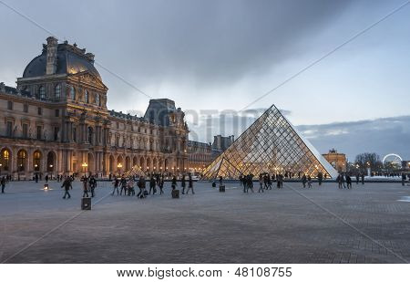 Pyramid Of The Louvre Museum In Paris, France