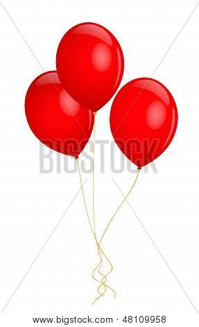 Isolated bunch (tree) of red helium Balloons. Vector illustration on white background