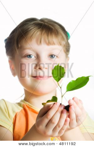 Little Girl With Plant