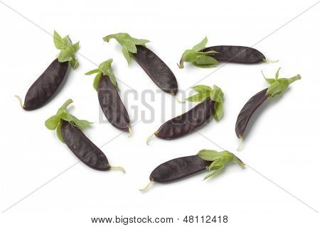 Purple snow peas on white background