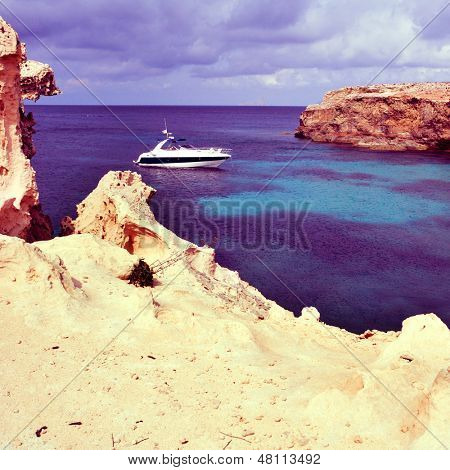 picture of Mediterranean Sea in Punta de Sa Pedrera in Formentera, Balearic Islands, Spain, with a retro effect