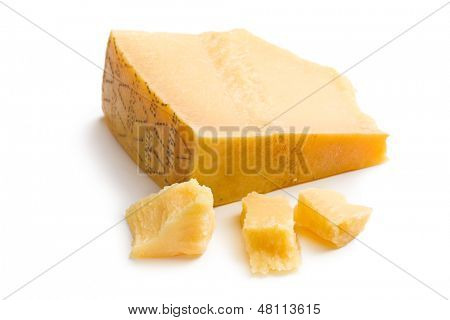 Italian hard cheese on white background