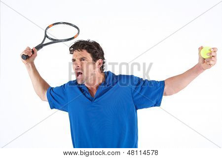 Tennis Player and his Racket complaining about a call