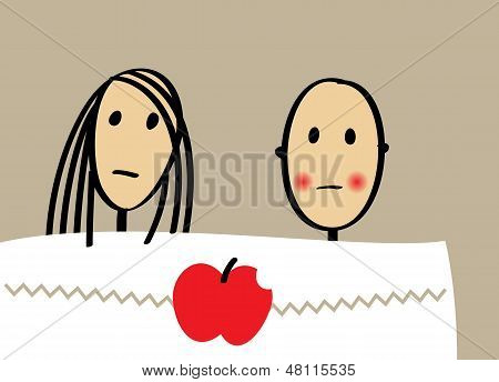 Young Couple With Apple In Bed