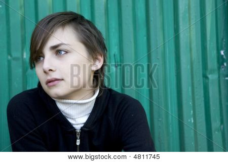 Portrait Of Young Lonely Sad Attractive Girl