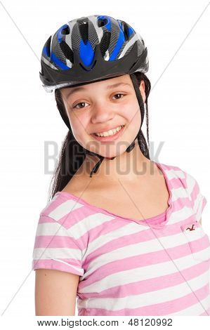 Mixed Race Teenage Girl Wearing A Bicycle Helmet.