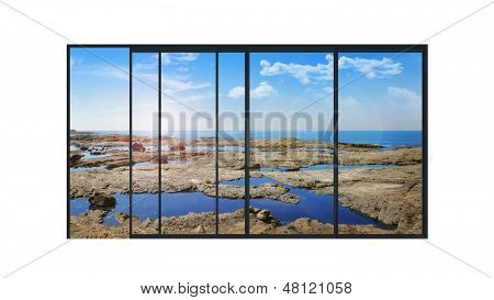 Panoramic Modern Window With A Stones And Sea Landscape