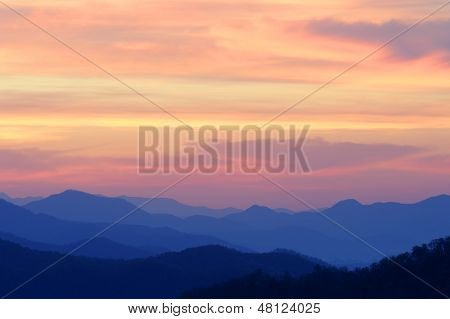 Orange Sunrise Over Mountains