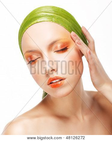 Charisma. Beautiful Woman In Light Green Bandana. Creative Glossy Makeup