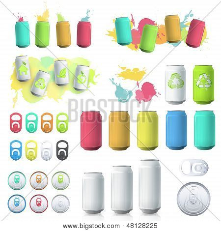 Set Of Cans And Elements. Vector Design.