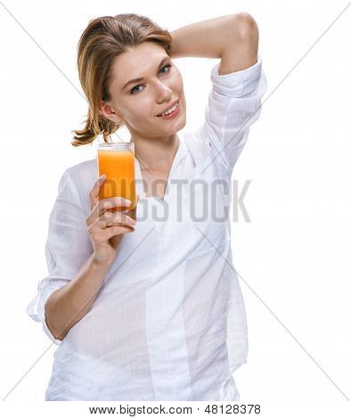 Young beautiful woman with glass of orange juice isolated on white background