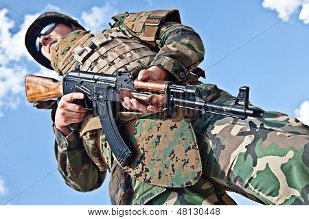 soldier with ak-47